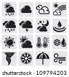 vector black weather icons on gray background - stock vector