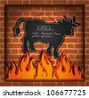 vector blackboard cow bull fireplace grill - stock vector