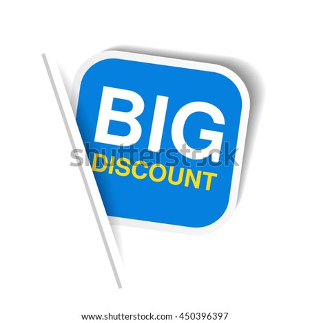 Vector blue advertising label. Squared sticker inserted under the white paper page. Offer - Big discount.
