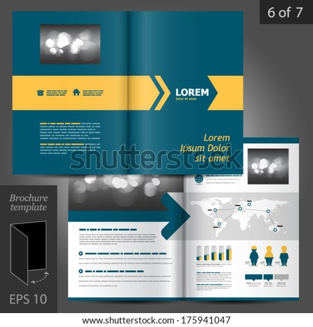 Vector blue brochure template design with yellow arrow