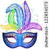 Vector blue ornate Venetian carnival mask with colorful feathers - stock vector
