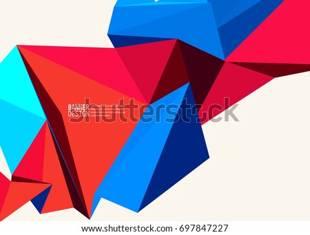 Vector Blue Red Color Triangle Design Templates Brochures Flyers Mobile Technologies Applications