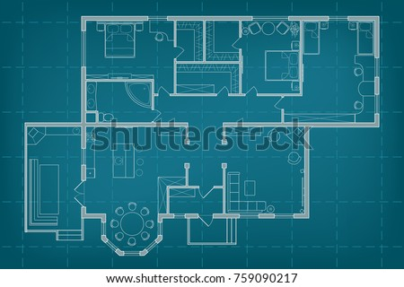 Modern office interior furniture vector blueprint stock vector vector blueprint floor plan the house on background of millimeter paper professional architectural illustration sketch malvernweather Gallery