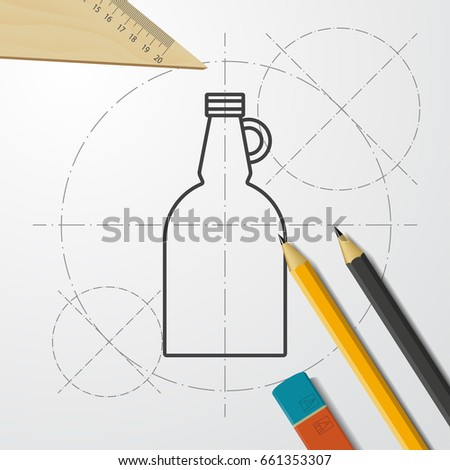 Vector blueprint vinegar bottle template on stock vector 316170326 vector blueprint vinegar bottle template on engineer and architect background malvernweather Gallery