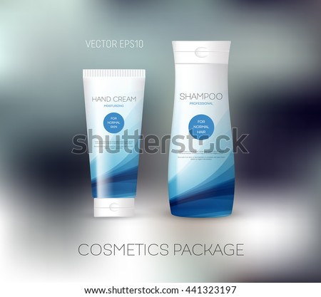 Vector body care cosmetics design concept. Tube cream and shampoo bottle. Packaging template. Blue tones