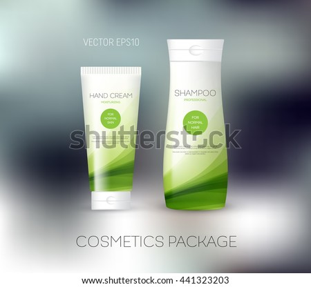 Vector body care cosmetics design concept. Tube cream and shampoo bottle. Packaging template. Green tones
