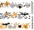 Vector border of Halloween-related objects and creatures. - stock vector