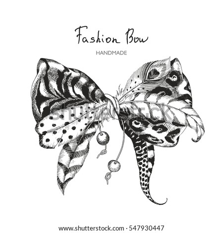 Vector bow of tiger skin, leopard print, exotic feathers and pendants. Hand-drawn fashionable illustration in boho chic style.