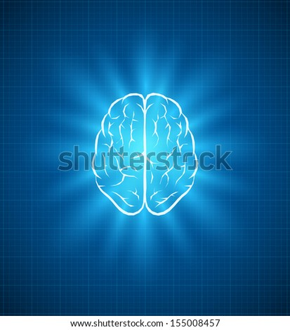 Vector brain blueprint. Elements are layered separately in vector file.