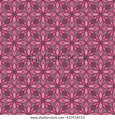 Vector bright pink abstract geometrical and floral seamless pattern for textile, surface, prints, apparel design.