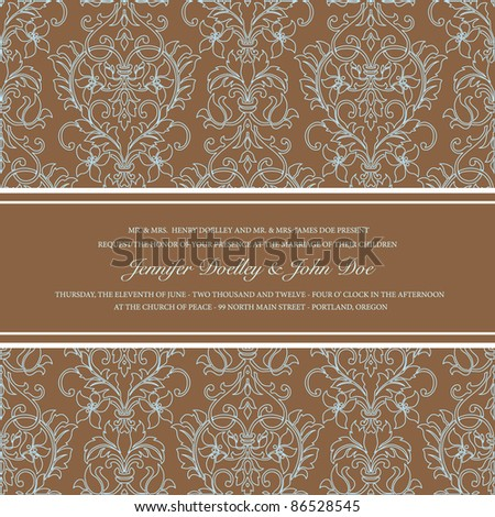 Vector Brown Damask Outline Background. Easy to edit. Perfect for invitations or announcements.