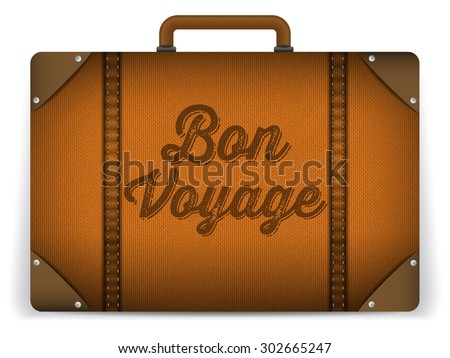 Vector - Brown Luggage Bag Illustration