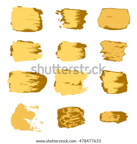Vector brush stroke gold paint abstract on white background set hand drawing design art, golden color grunge texture frame for greeting card, invitation, Christmas, wedding