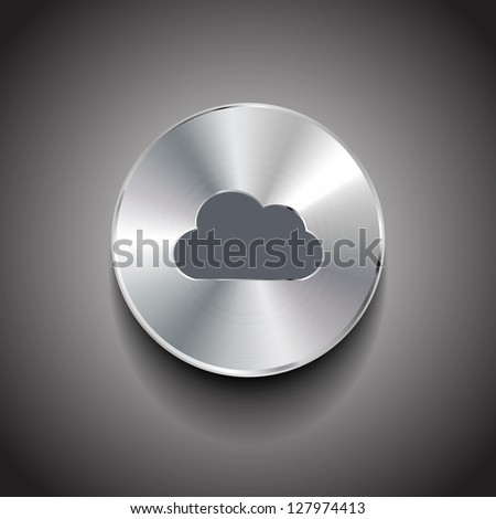 Vector brushed metal cloud round button