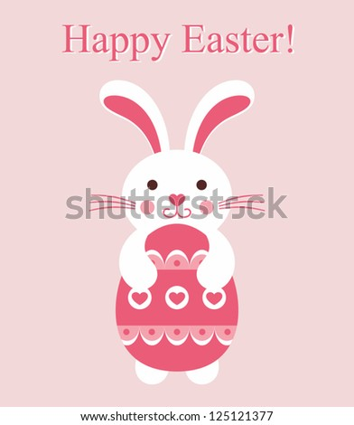 Vector bunny with egg. Easter card.