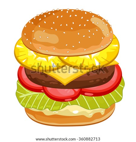 Vector burger isolated on white background