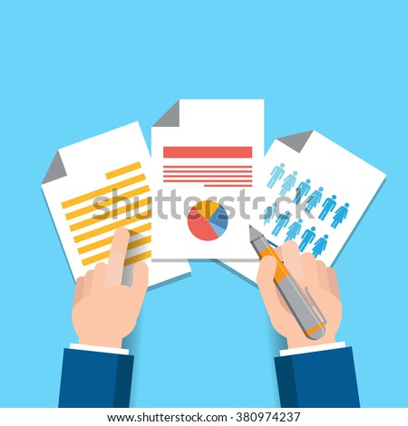 Vector Business Contract Magnifier Paper Document Stock Vector