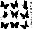 vector, butterflies, black silhouettes on white background - stock photo