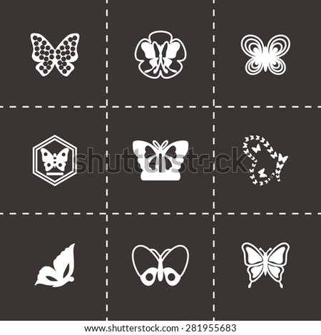 Vector Butterfly icon set on black background