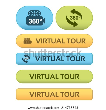 Vector buttons for virtual tour, blue, green and orange labels - stickers with arrows and camera