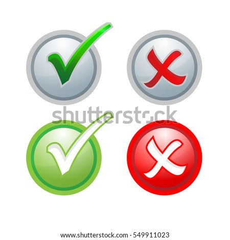 Vector buttons sign check correct and incorrect