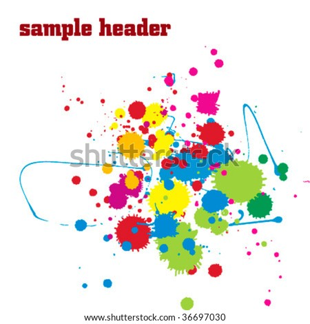 Vector c�olor paint splashes background.