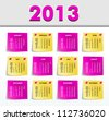 Vector Calendar 2013, All Elements Are In Separate Layers And Grouped, Easy To Edit. - stock vector