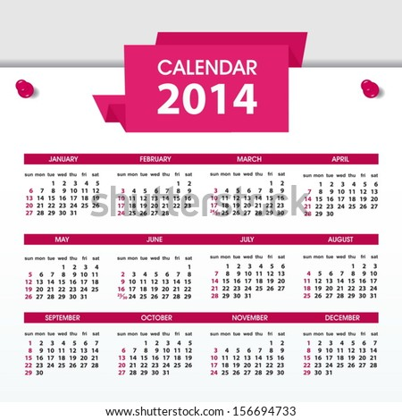 calendar 2015 design english sunday start vector illustration calendar ...