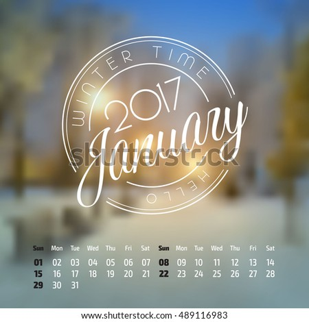 Vector calendar on abstract nature background. January 2017