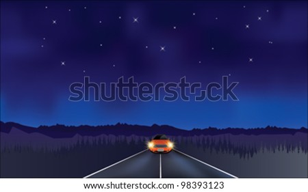 Stock vector vector car driving at night on dark road under starry sky