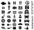 Vector car parts set icons  - stock vector