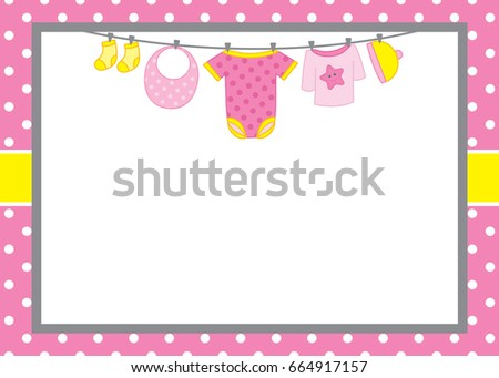 vector card template baby boy clothes stock vector 664917151 shutterstock. Black Bedroom Furniture Sets. Home Design Ideas