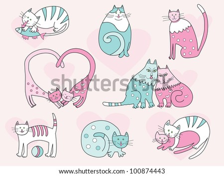 vector cartoon cats collection