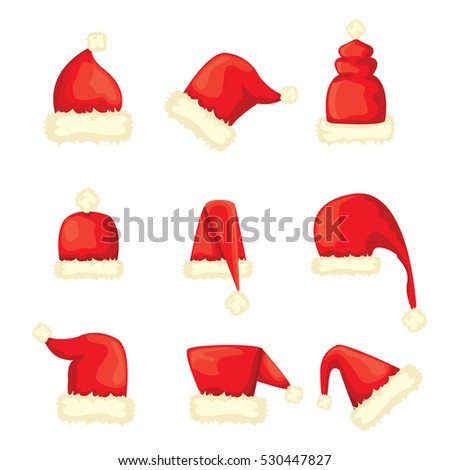 vector cartoon christmas Santa Claus red hat icons set isolated on white background. Happy New Year 2016 symbol collection . vector Merry Christmas decoration design elements