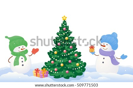Vector cartoon drawing of a snowy scene with two cute snowmen and Christmas tree, isolated on white background