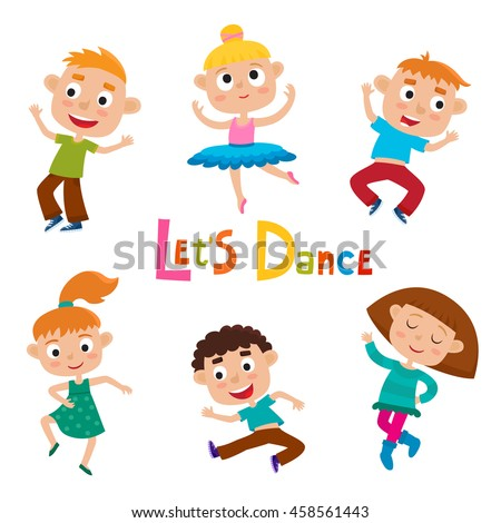 vector cartoon illustration of little graceful girls dancer and happy hipster boys isolated on white - Cartoon Picture Of Child