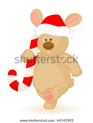Vector cartoon little toy bunny in the cap of Santa Claus
