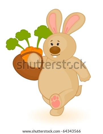 Vector cartoon little toy bunny with carrot