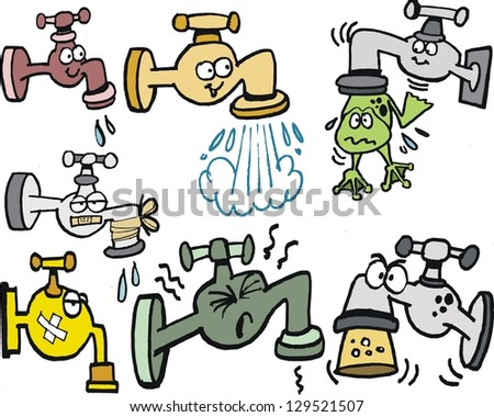 Vector cartoon of assorted taps, leaks and frog..