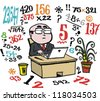 Vector cartoon of business man doing number calculations at desk. - stock photo