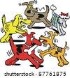 Vector cartoon of dogs fighting over bone. - stock vector