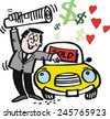 Vector cartoon of happy man selling car and waving newspaper. - stock photo