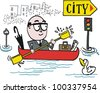 Vector cartoon of man commuting to work in canoe - stock vector