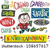 Vector cartoon of man winning money with casino signs. - stock photo