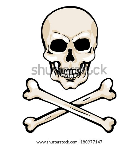 vector cartoon pirate skull with crossbones stock vector