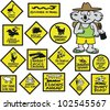 Vector cartoon showing funny Australian road signs and koala bear. - stock photo