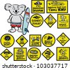 Vector cartoon showing surfing koala with warning signs - stock photo