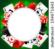 Vector casino background with cardes, dices and roulette - stock vector