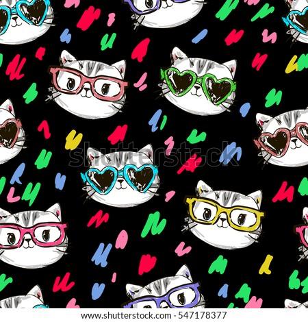 cool print childrens tshirt cat vector stock vector