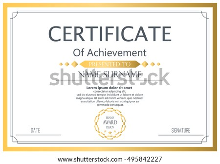 Certificates Modern Clean Color Placement Sample Vector – Sample Graduation Certificate